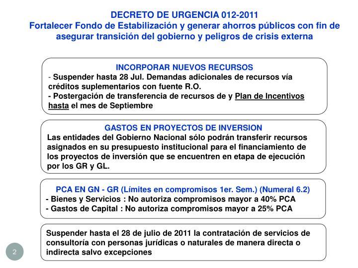 DECRETO DE URGENCIA 012-2011