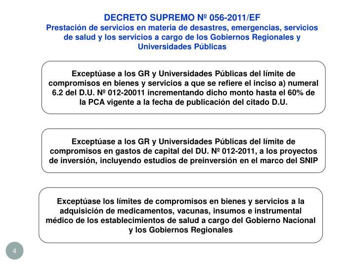 DECRETO SUPREMO Nº 056-2011/EF