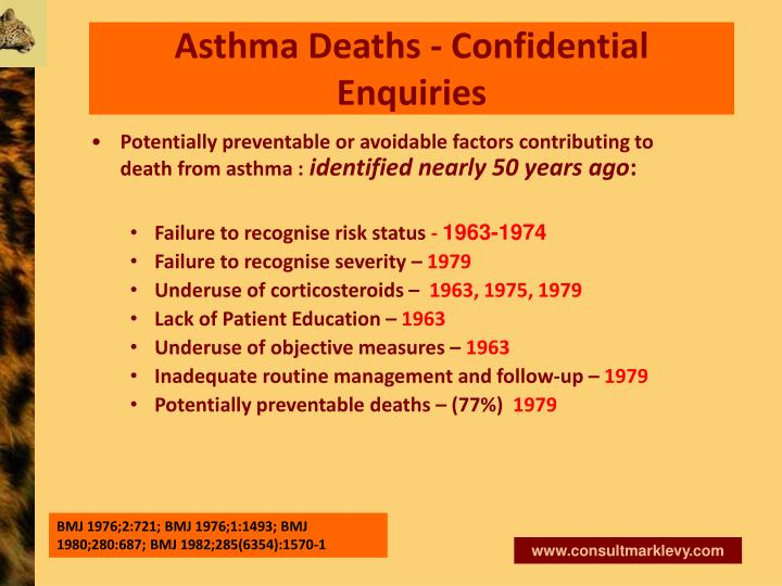 Asthma Deaths - Confidential Enquiries