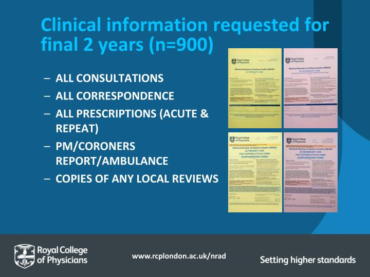Clinical information requested for final 2 years (n=900)