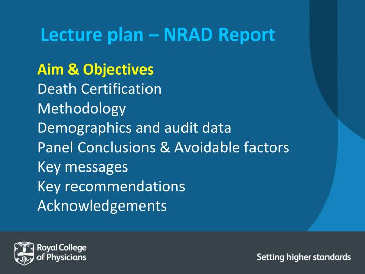 Lecture plan – NRAD Report