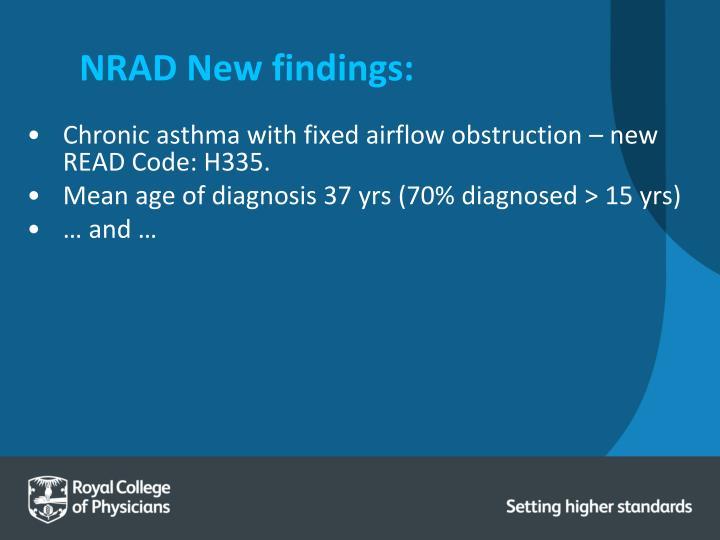 NRAD New findings: