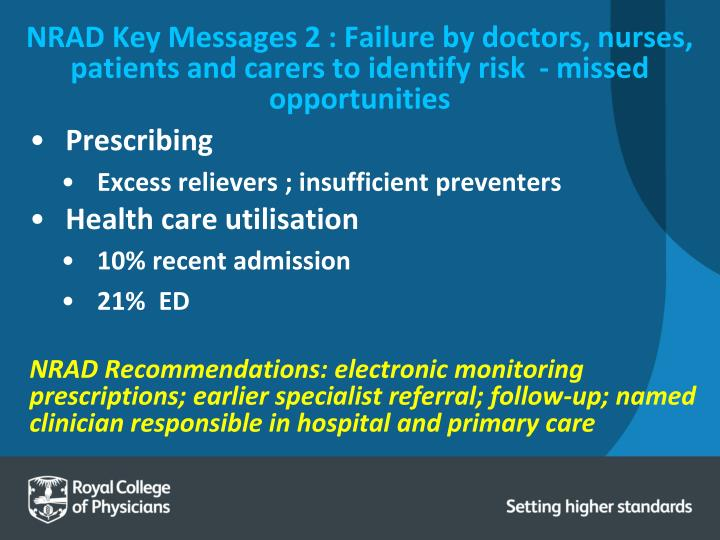 NRAD Key Messages 2 : Failure by doctors, nurses, patients and carers to identify risk  - missed opportunities