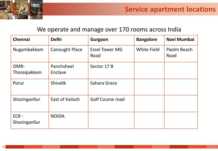 Service apartment locations