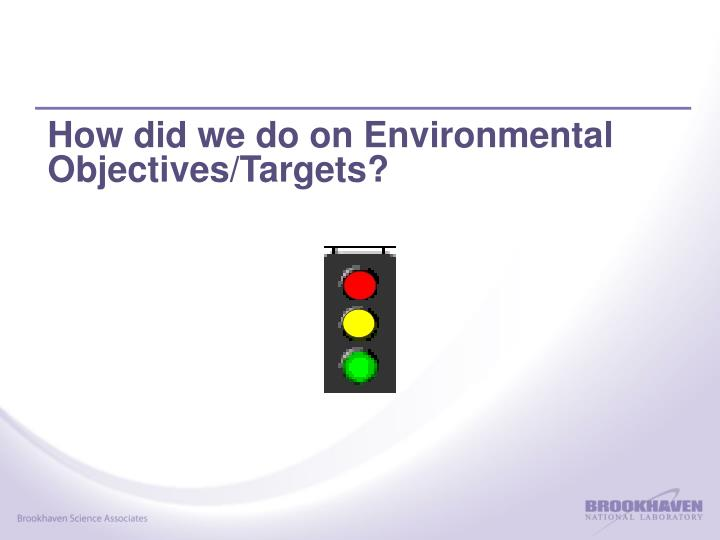 How did we do on Environmental Objectives/Targets?