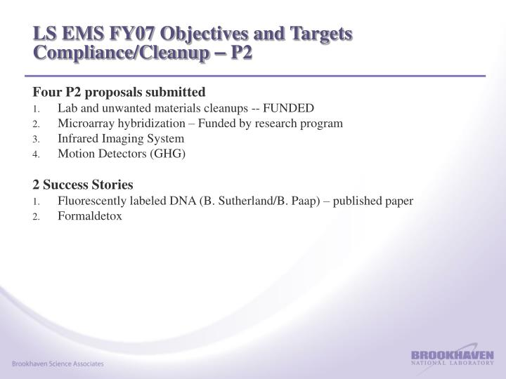 LS EMS FY07 Objectives and Targets