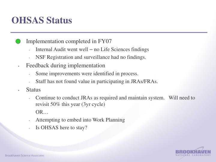 OHSAS Status