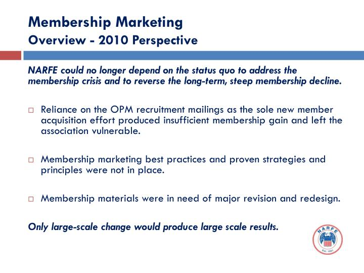 Membership marketing overview 2010 perspective