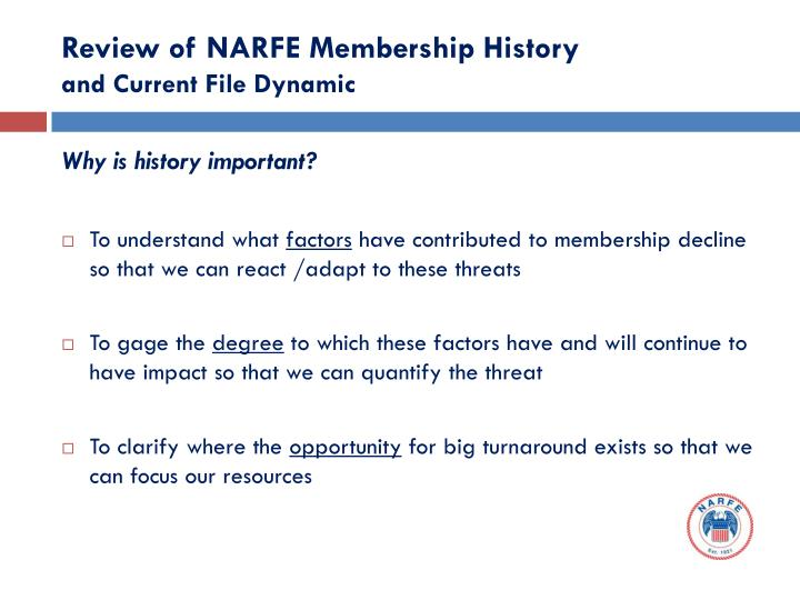 Review of NARFE Membership History
