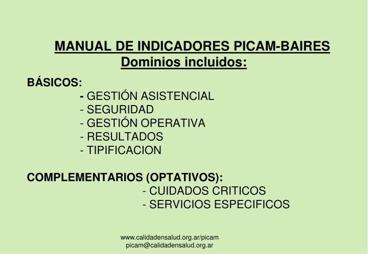 MANUAL DE INDICADORES PICAM-BAIRES