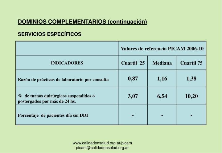 DOMINIOS COMPLEMENTARIOS (continuación)
