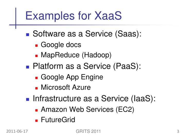 Examples for XaaS