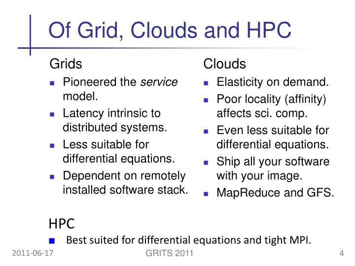 Of Grid, Clouds and HPC