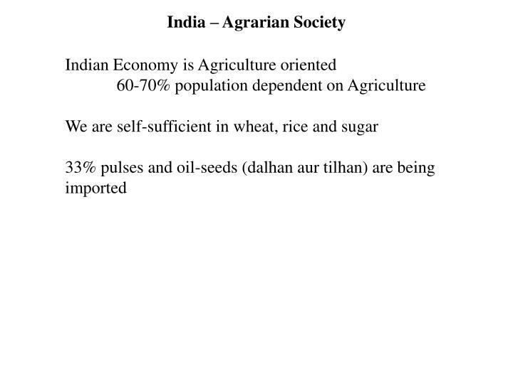 India – Agrarian Society