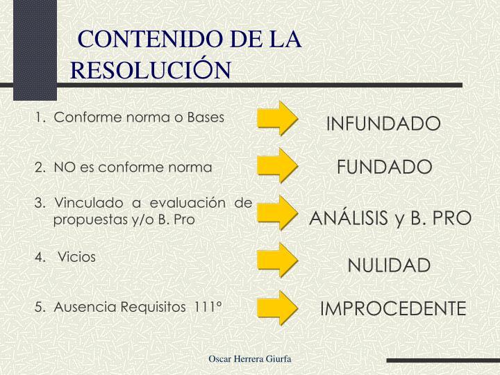 CONTENIDO DE LA RESOLUCI