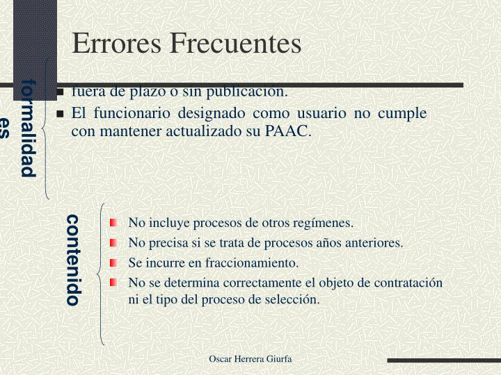 Errores Frecuentes