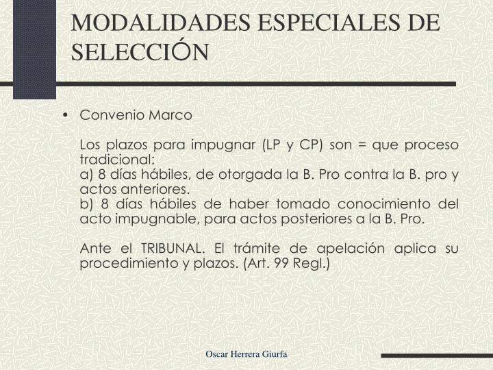 MODALIDADES ESPECIALES DE SELECCI