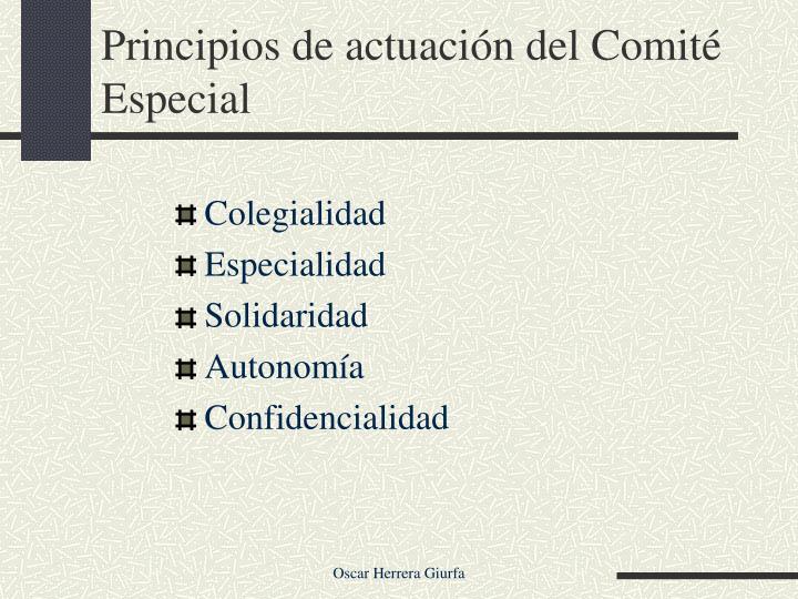 Principios de actuación del Comité Especial