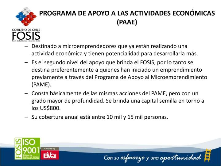 PROGRAMA DE APOYO A LAS ACTIVIDADES ECONÓMICAS