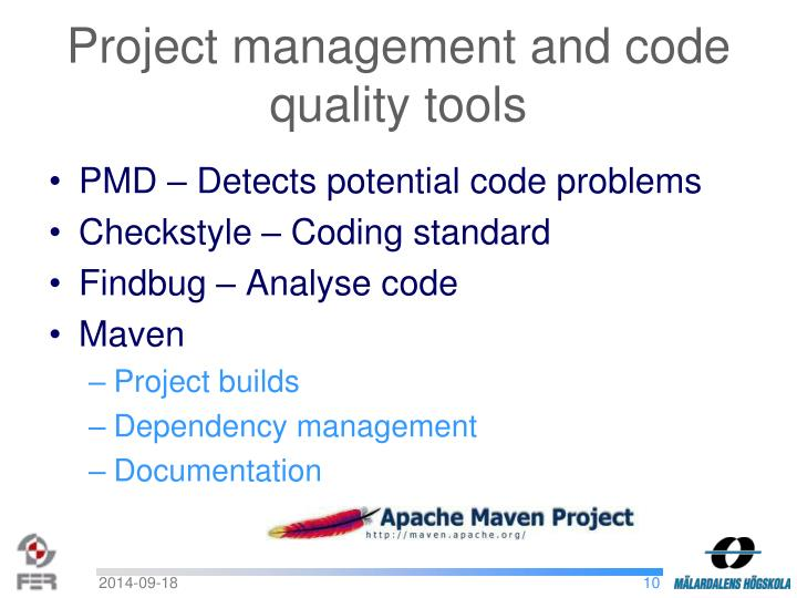 Project management and code quality tools