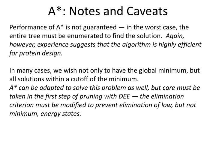 A*: Notes and Caveats