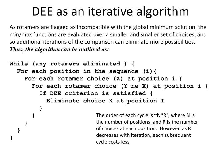 DEE as an iterative algorithm