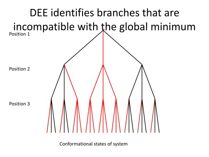 DEE identifies branches that are incompatible with the global minimum