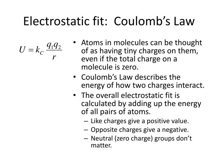 Electrostatic fit:  Coulomb's Law
