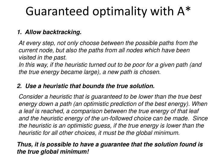 Guaranteed optimality with A*