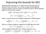 improving the bounds for dee