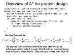overview of a for protein design