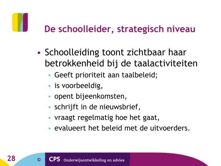 De schoolleider, strategisch niveau