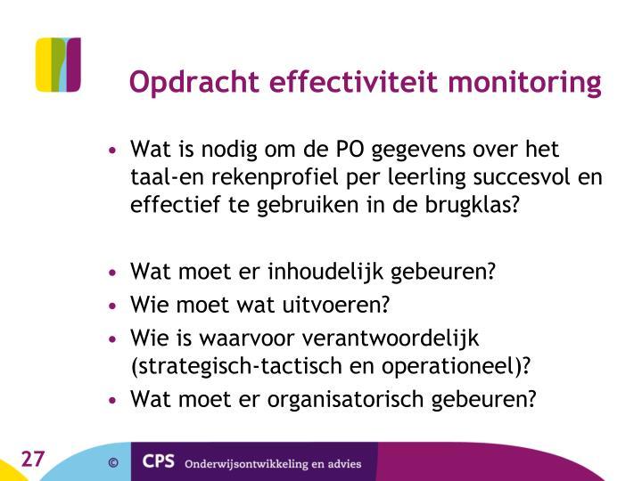 Opdracht effectiviteit monitoring