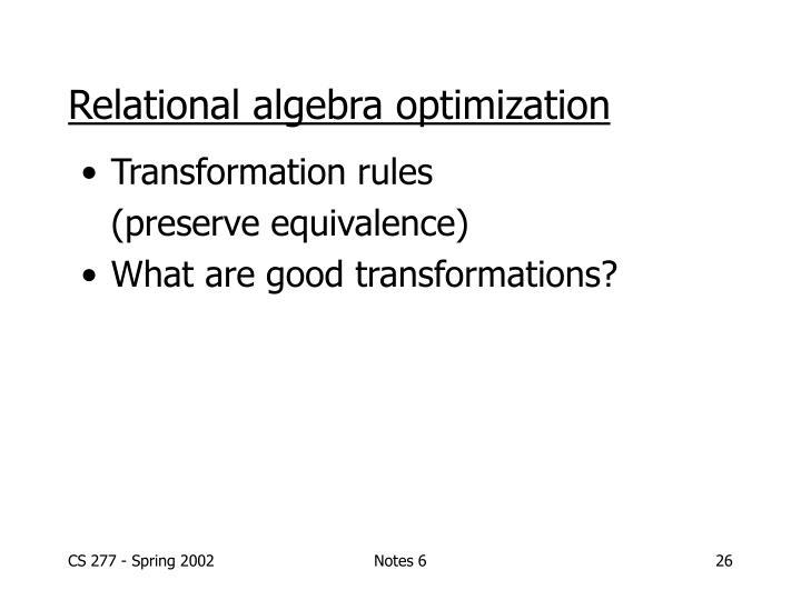 Relational algebra optimization