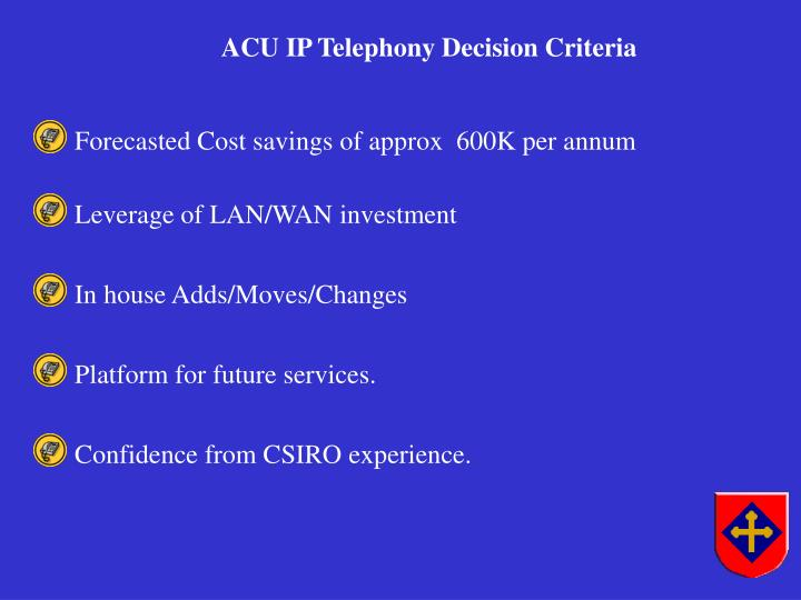 Forecasted Cost savings of approx  600K per annum