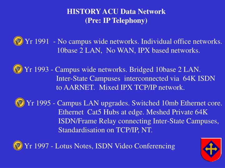 Yr 1993 - Campus wide networks. Bridged 10base 2 LAN.
