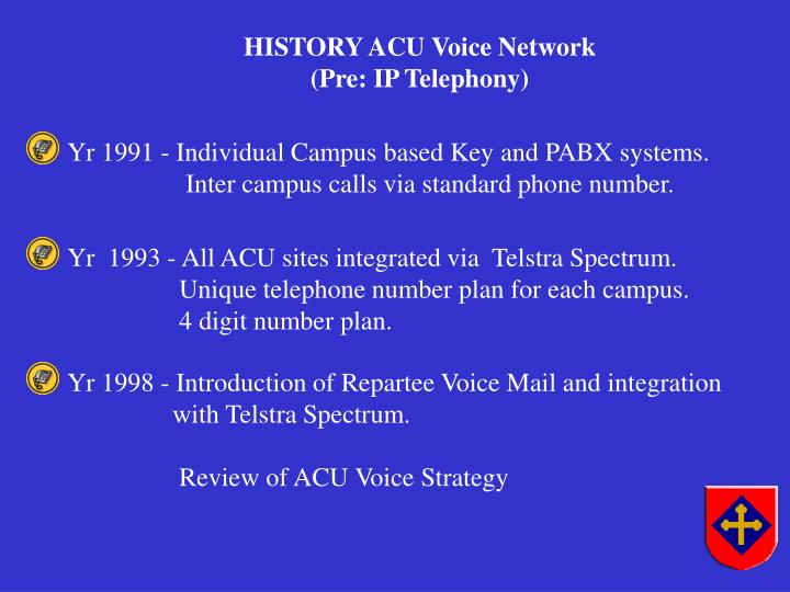 Yr 1991 - Individual Campus based Key and PABX systems.