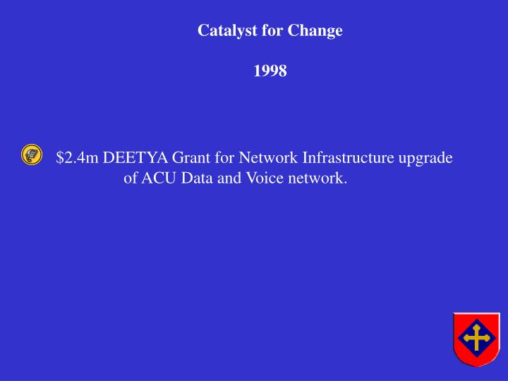 $2.4m DEETYA Grant for Network Infrastructure upgrade