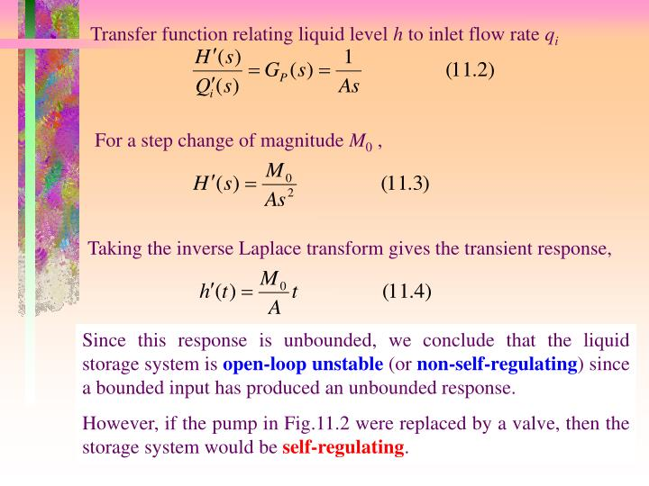 Transfer function relating liquid level