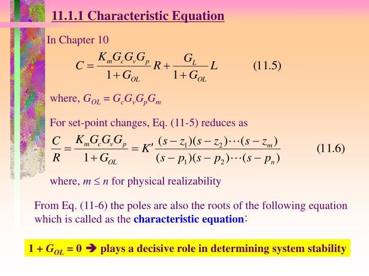 11.1.1 Characteristic Equation