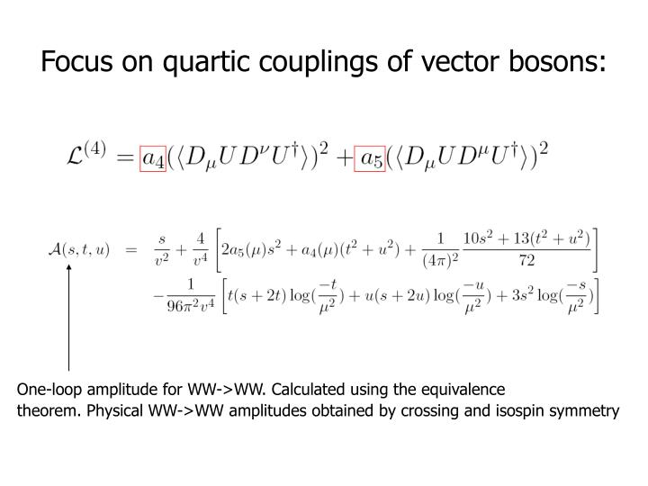 One-loop amplitude for WW->WW. Calculated using the equivalence