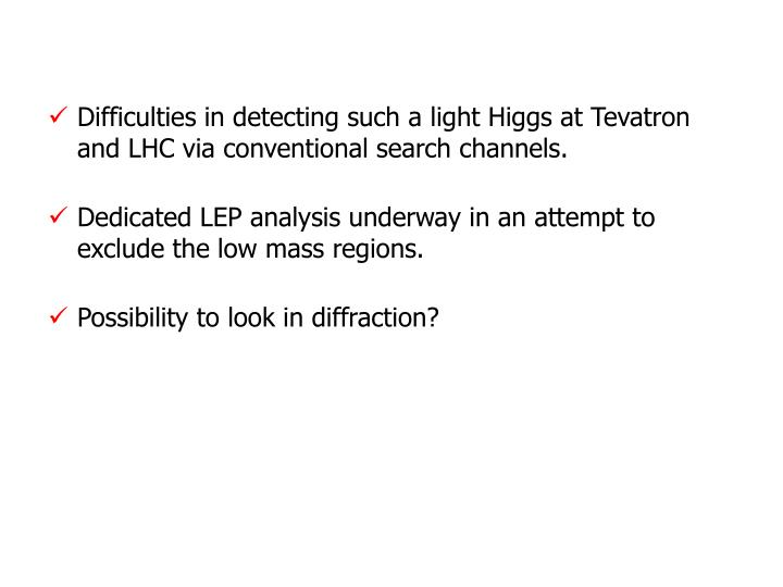 Difficulties in detecting such a light Higgs at Tevatron and LHC via conventional search channels.