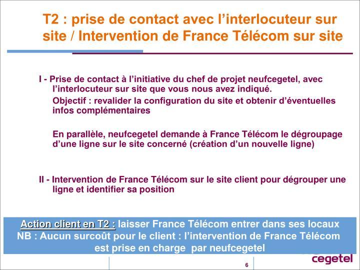 T2 : prise de contact avec l'interlocuteur sur site / Intervention de France Télécom sur site