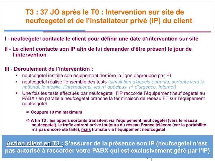 T3 : 37 JO après le T0 : Intervention sur site de neufcegetel et de l'Installateur privé (IP) du client