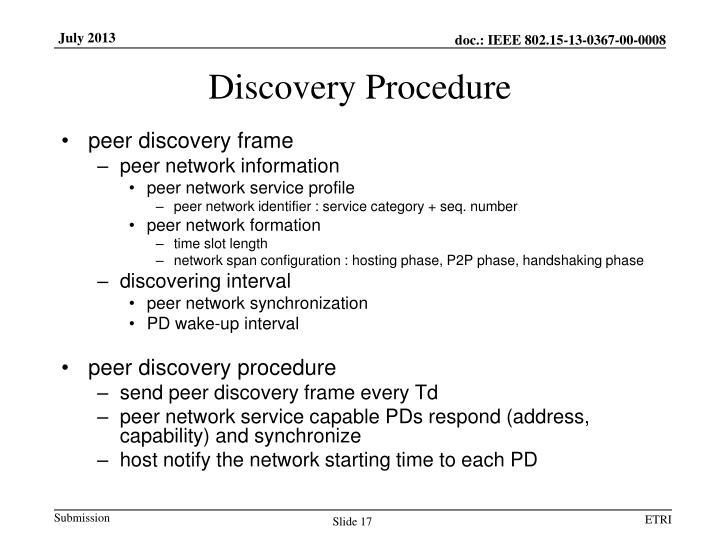 Discovery Procedure