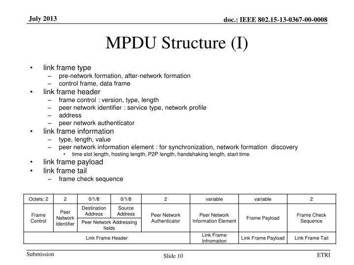 MPDU Structure (I)