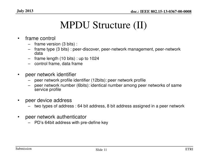 MPDU Structure (II)
