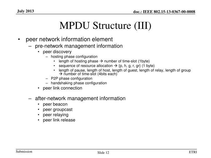 MPDU Structure (III)