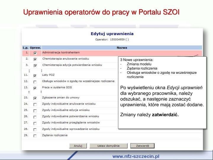 Uprawnienia operatorów do pracy w Portalu SZOI