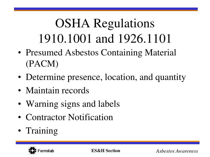 Presumed Asbestos Containing Material (PACM)